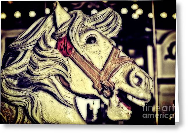 Seaside Heights Greeting Cards - White Steed - Antique Carousel Greeting Card by Colleen Kammerer
