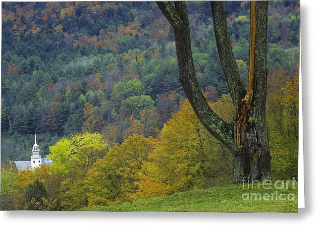 Vermont Village Greeting Cards - White Steepled Church With Fall Color Greeting Card by Ellen Thane