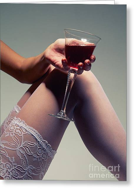 Wine Legs Greeting Cards - White Stockings With Wineglass Greeting Card by Aleksey Tugolukov