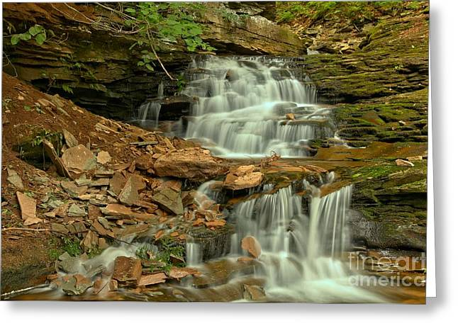 Moss Green Greeting Cards - White Streams Over Brown Rocks Greeting Card by Adam Jewell