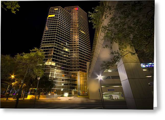 Tampa Skyline Greeting Cards - White stripe Building Greeting Card by Marvin Spates