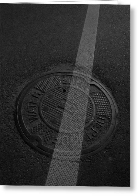 Guy Ricketts Photography Greeting Cards - White Stripe on Manhole Cover Greeting Card by Guy Ricketts