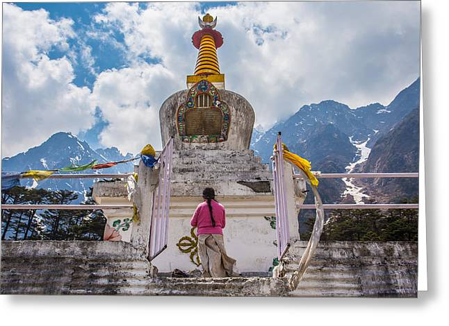 Tibetan Buddhism Greeting Cards - White stupa at Yumthang Valley in Lachung North Sikkim India Greeting Card by Nattee Chalermtiragool