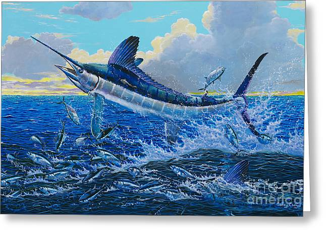 Striped Marlin Greeting Cards - White surprise Off0050 Greeting Card by Carey Chen