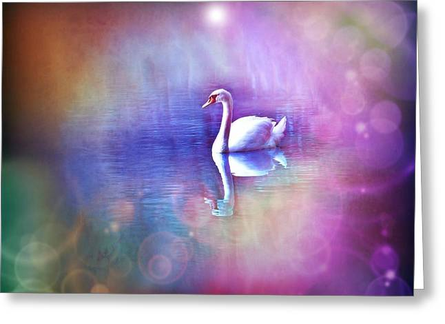 Glow Pyrography Greeting Cards - White Swan in colorful fog Greeting Card by Lilia D