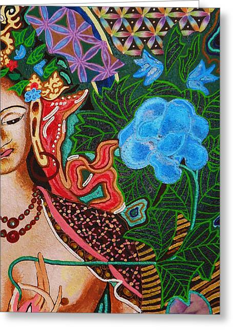 Western Themed Greeting Cards - White Tara Flower of Life THREE Greeting Card by Kevin J Cooper Artwork