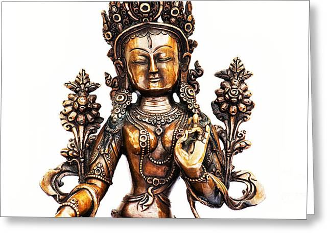 White Tara Greeting Card by Tim Gainey