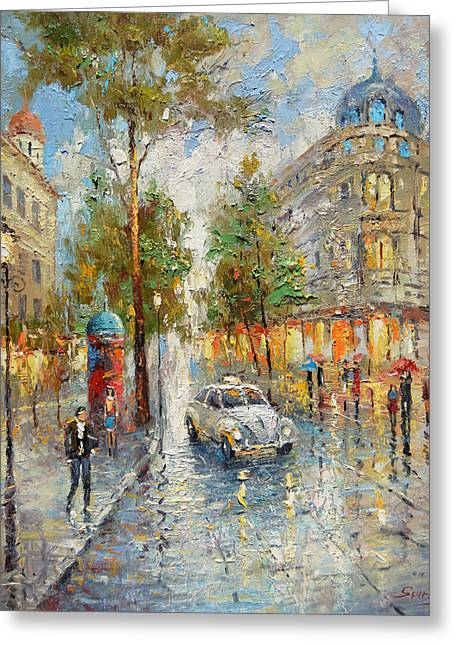 White Taxi Greeting Card by Dmitry Spiros
