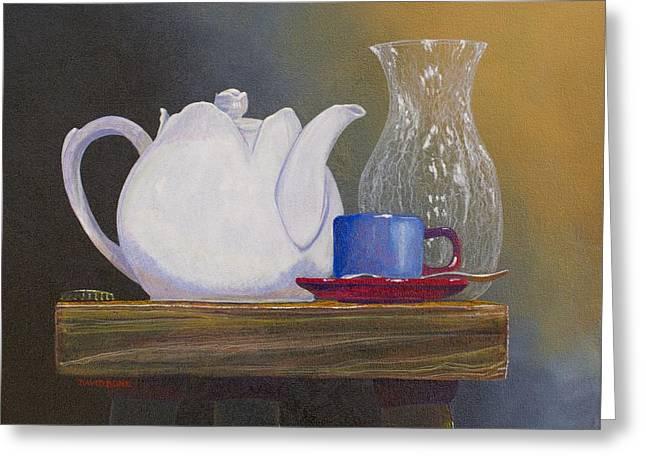 Bottle Cap Paintings Greeting Cards - White Tea Pot Greeting Card by David Bone