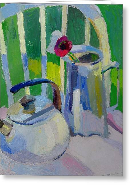 Still Life With Pitcher Paintings Greeting Cards - White Teapot And Pitcher Greeting Card by Martin Deem