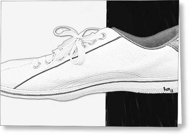 """photo Manipulation"" Paintings Greeting Cards - White Tennis Shoe Greeting Card by Billy Cooper Rice"