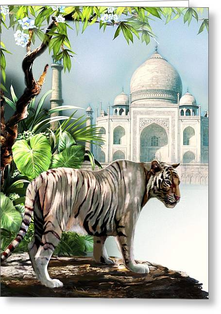 Wild Cats Paintings Greeting Cards - White Tiger and the Taj Mahal Image of Beauty Greeting Card by Gina Femrite