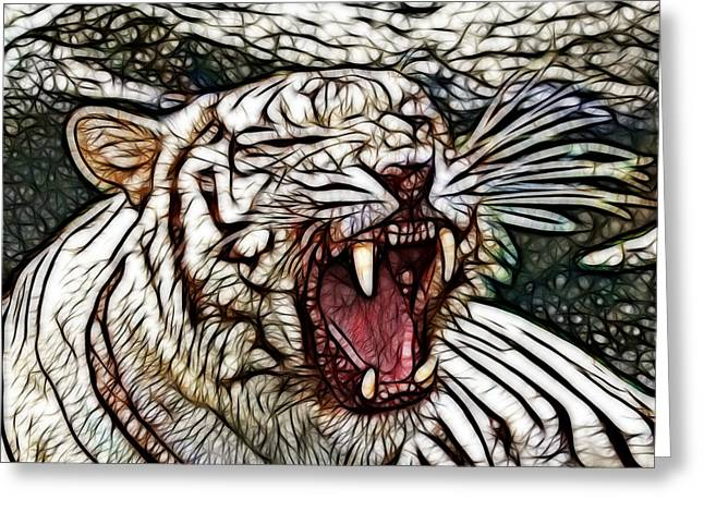 Growling Greeting Cards - White Tiger Art Greeting Card by Steve McKinzie