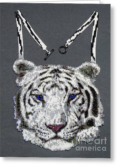 Stripes Jewelry Greeting Cards - White Tiger Greeting Card by Christy Nicholas
