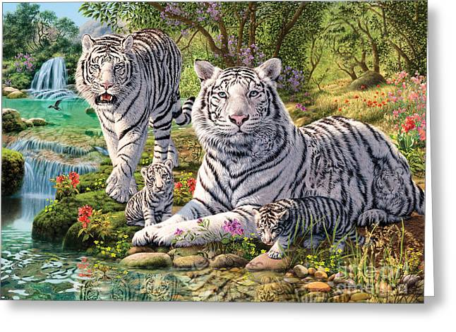 Tiger Illustration Greeting Cards - White Tiger Clan Greeting Card by Steve Read