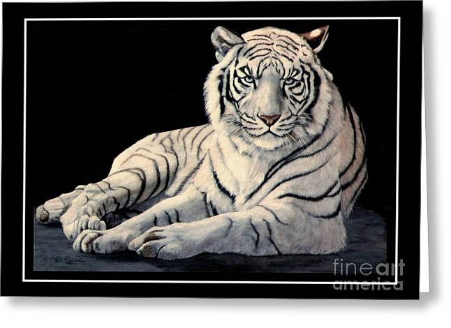 White Tiger Greeting Card by DiDi Higginbotham
