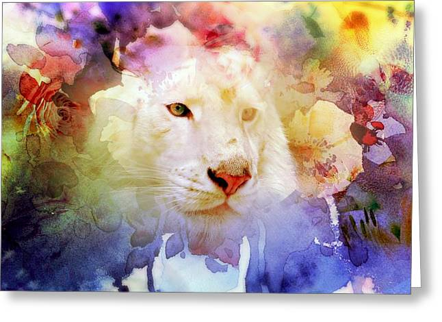 Grunge Greeting Cards - White Tiger Grunge Greeting Card by Cassie Peters