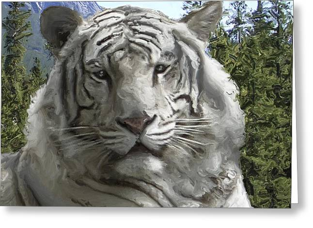 Fur Stripes Greeting Cards - WHITE TIGER in its FOREST HABITAT Greeting Card by Daniel Hagerman