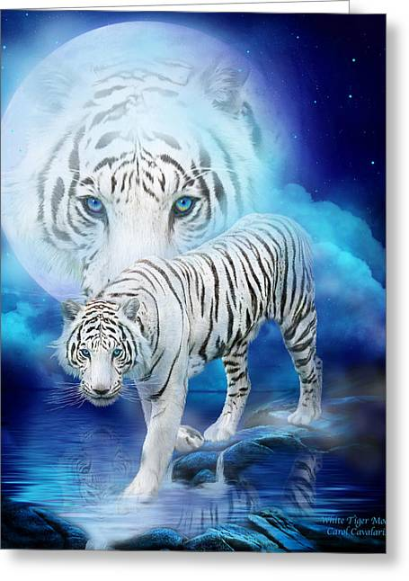 Cat Prints Greeting Cards - White Tiger Moon Greeting Card by Carol Cavalaris