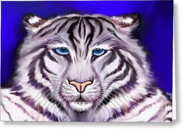 The Tiger Greeting Cards - White Tiger Greeting Card by Nick Gustafson