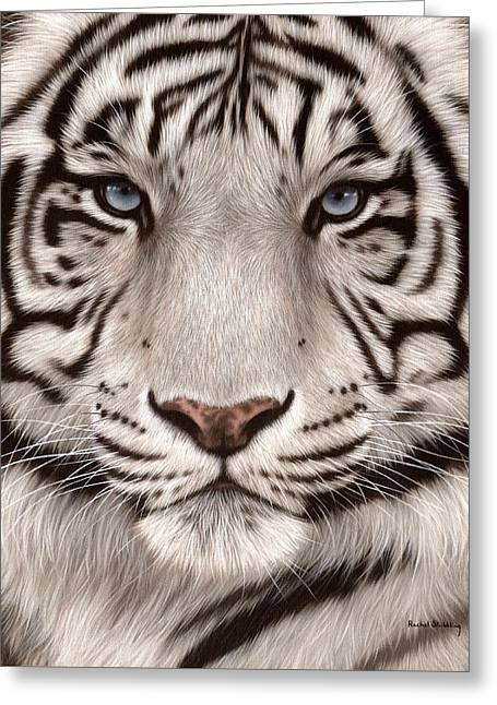 Big Cat Art Greeting Cards - White Tiger Painting Greeting Card by Rachel Stribbling