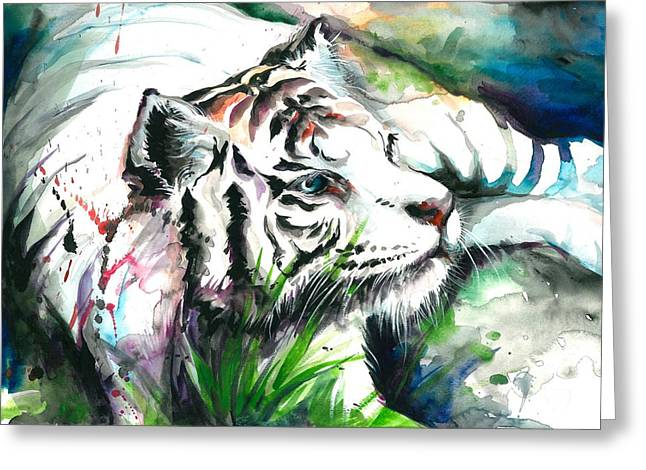 Het Greeting Cards - White Tiger Resting Greeting Card by Tiberiu Soos