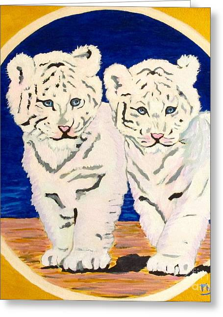 White Paintings Greeting Cards - White Tiger Twins Greeting Card by Phyllis Kaltenbach