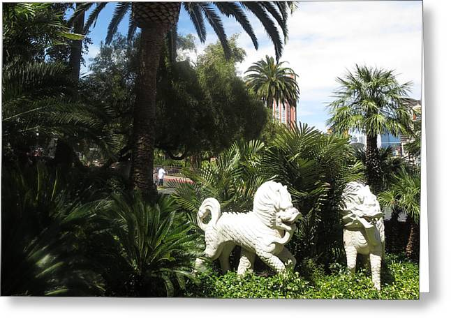 Sport Sculptures Greeting Cards - WHITE Tigers Las Vegas Greeting Card by Navin Joshi