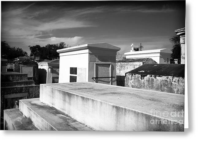 Headstones Greeting Cards - White Tombs Greeting Card by John Rizzuto