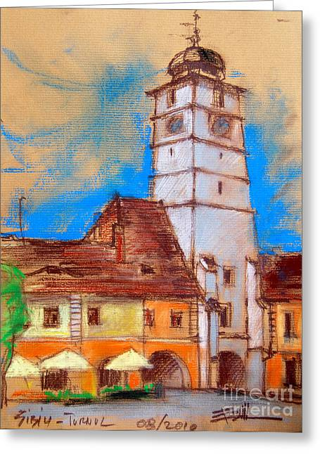 Medieval Pastels Greeting Cards - White Tour In Sibiu Greeting Card by Mona Edulesco