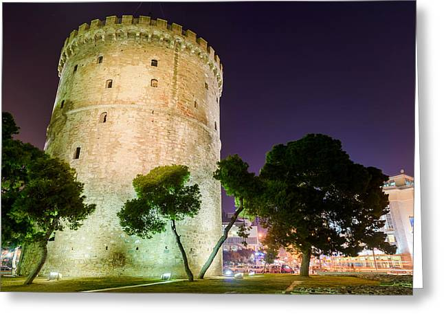 White Tower In Salonica Greece Greeting Card by Sotiris Filippou