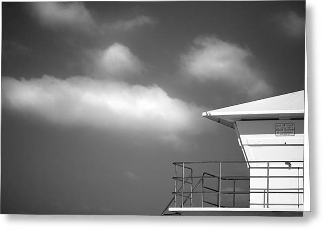 California Beach Art Greeting Cards - White Tower White Cloud Greeting Card by Peter Tellone