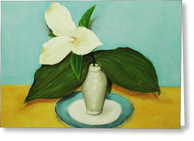 Canada Pastels Greeting Cards - White Trillium Greeting Card by Anastasiya Malakhova