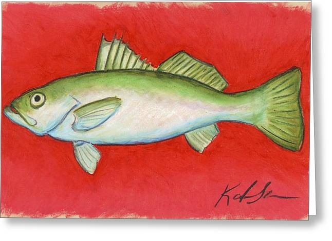 Trout Fishing Pastels Greeting Cards - White Trout Greeting Card by Katie Sasser