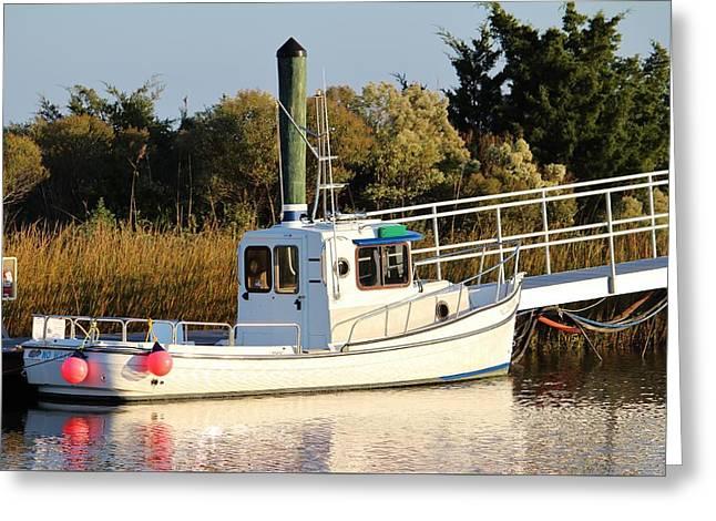 White Tugboat Greeting Card by Cynthia Guinn