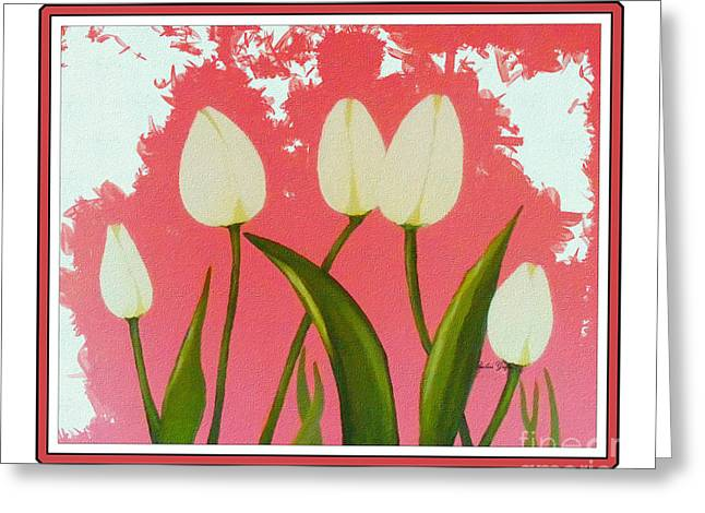 Sunlight On Flowers Digital Greeting Cards - White Tulips Dance in the Sun Greeting Card by Barbara Griffin