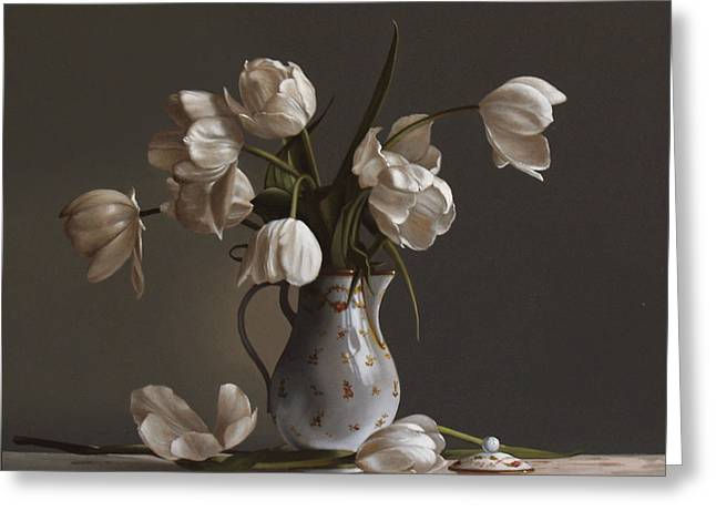 Oils Greeting Cards - White Tulips Greeting Card by Larry Preston