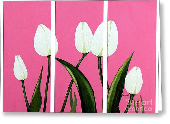 Green Barbara Griffin Art Greeting Cards - White Tulips on Pink Triptych Greeting Card by Barbara Griffin