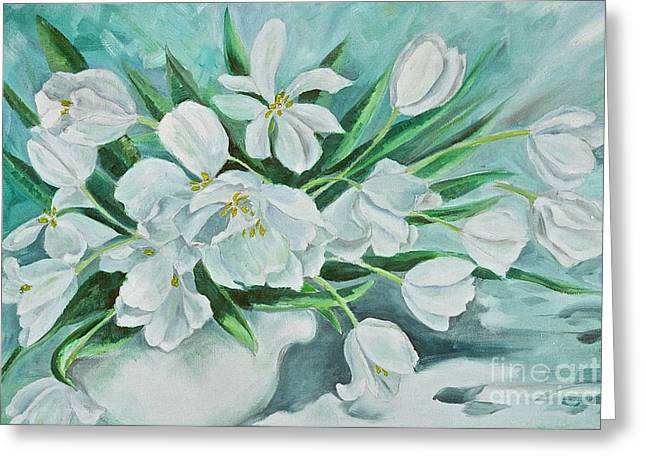 Canmore Artist Greeting Cards - White Tulips Greeting Card by Virginia Ann Hemingson