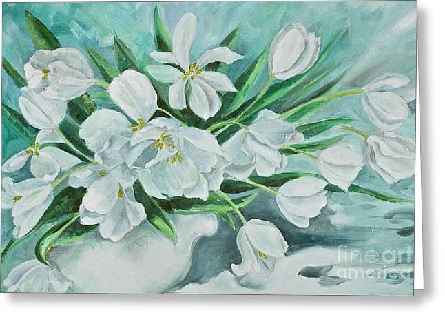 White Tulips Greeting Card by Virginia Ann Hemingson