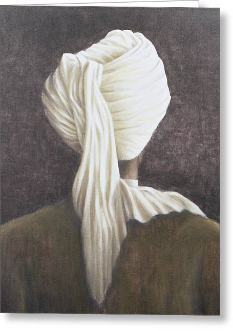 Headdress Greeting Cards - White Turban, 2005 Acrylic On Canvas Greeting Card by Lincoln Seligman