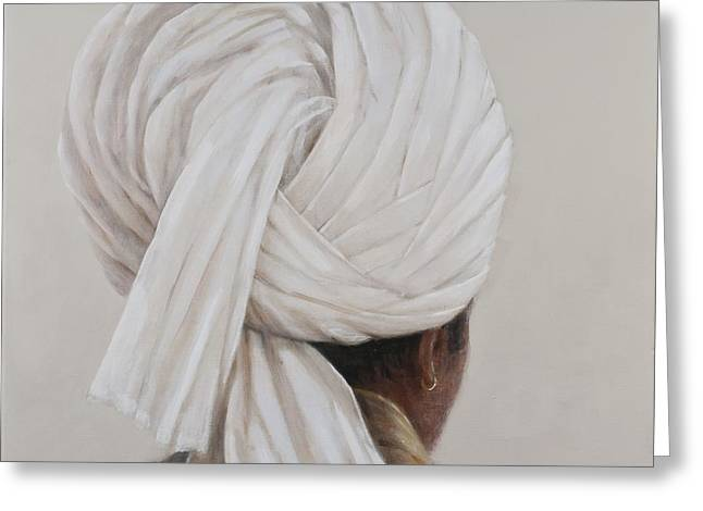 White Photographs Greeting Cards - White Turban, 2014 Oil On Canvas Greeting Card by Lincoln Seligman