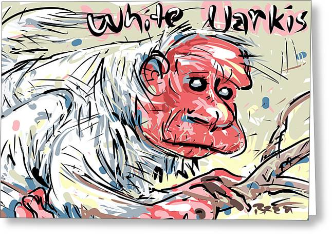 White Thick Fur Greeting Cards - White Uarkis Greeting Card by Brett LaGue