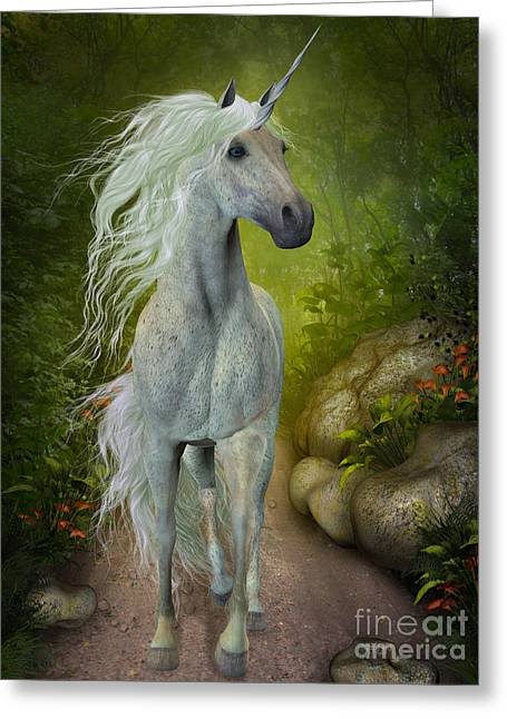 Fabled Greeting Cards - White Unicorn Greeting Card by Corey Ford