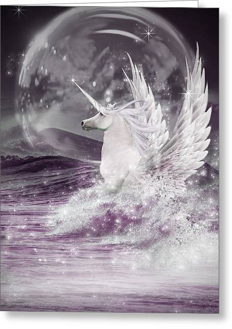 Sea Horse Greeting Cards - White Unicorn Greeting Card by Ethiriel  Photography