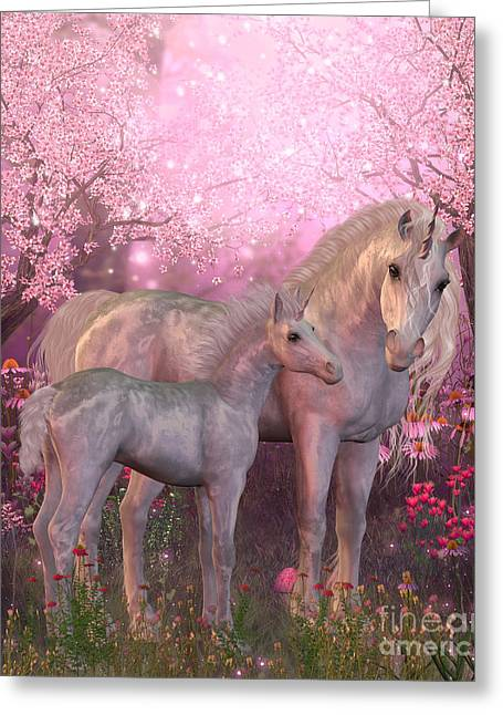 White Magic Greeting Cards - White Unicorn Mare and Foal Greeting Card by Corey Ford