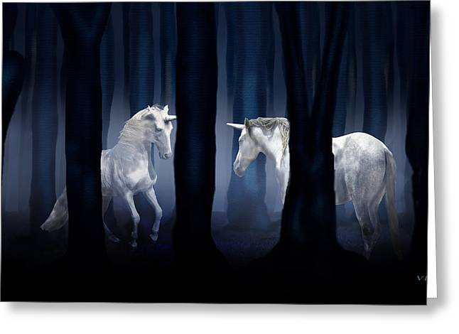 White Unicorns Greeting Card by Virginia Palomeque
