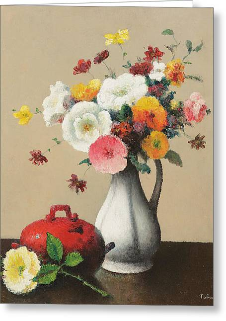White Paintings Greeting Cards - White Vase and Red Box Greeting Card by Felix Elie Tobeen