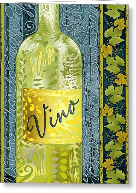Sauvignon Digital Art Greeting Cards - White Vino Greeting Card by Sharon Marcella Marston