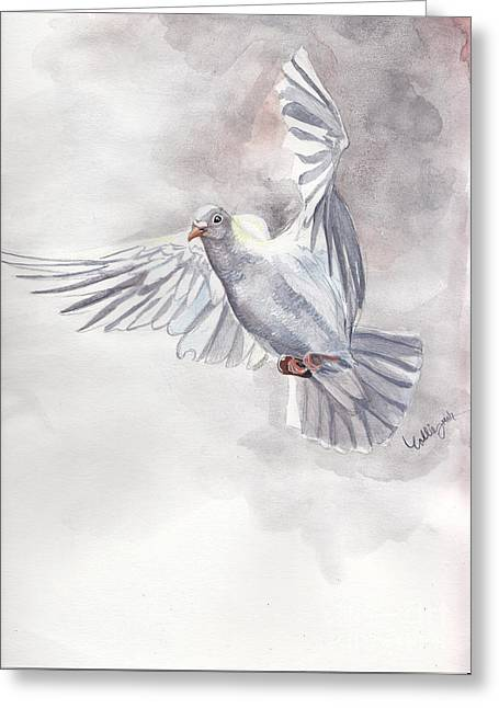 Bird Art Greeting Cards - White Vision Greeting Card by Callie Smith